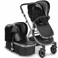 Babyroues 6615 Letour Lux II Leatherette Canopy & Footcover - Frosted Silver Frame, Black