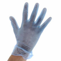 Royal General Purpose Blue Vinyl Disposable Gloves, Medium, Package of 100