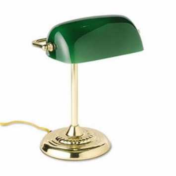 Traditional Incandescent Banker's Lamp, Green Glass Shade, Brass Base, 14 Inches by LEDU (Catalog Category: Furniture & Accessories / Lamps & Lighting)