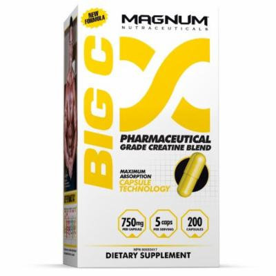 Magnum Nutraceuticals Big C Non-Water Retaining Creatine - 200 Capsules Increased Energy & Endurance Muscle Density