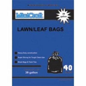 Mintcraft 33485 39-Gallon 1.25M Lawn/Leaf Bag Black Heavy-Duty Black - With Ties - Box Of 40