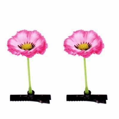 Women Artificial Flower Floral Antenna Hairpin Hollyhock Hair Clips Pink 2 Pcs