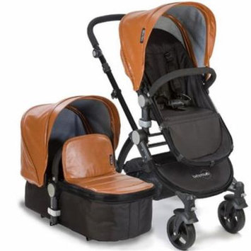 Babyroues 6626 Letour Lux II Leatherette Canopy & Footcover - Black Frame, Camel
