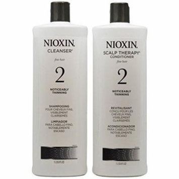 Nioxin System 2 Cleanser ; Scalp Therapy Duo (Natural Hair: Noticeably Thinning) 33.8 oz (1 Liter)