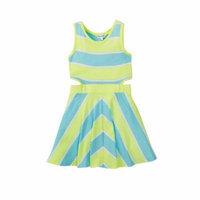 Splendid NEW Green Blue Baby Girls Size 4T Striped A-Line Cutout-Side Dress