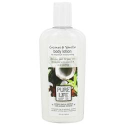 Body Lotion, Coconut & Vanilla, 14.9 oz, Pure Life Soap