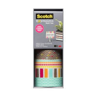 Scotch 0.59 in. x 10.9 yds. Diamonds, Dots, Lines Expressions Washi Tape with Storage Box (4-Pack)