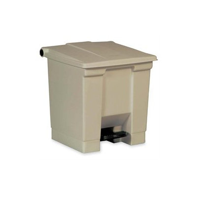 Rubbermaid Commercial RCP6143BEI Beige Step-On Waste Container Square