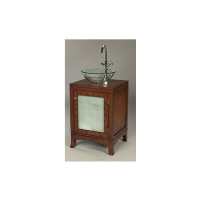 AA Importing One Door Bathroom Vanity with Vessel Sink in Distressed Brown