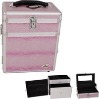 Just Case Usa Inc. Sunrise Pink Snake Skin Textured Printing Jewelry & Makeup Case