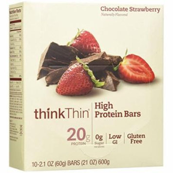 thinkThin High Protein Bars, Chocolate Strawberry, 2.1 Ounce (pack of 10)