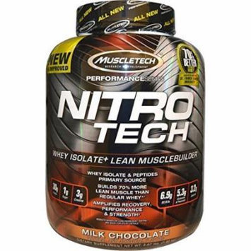 MuscleTech NitroTech Protein Powder, Whey Isolate + Lean MuscleBuilder, Milk Chocolate, 3.97 lbs (1.80kg)