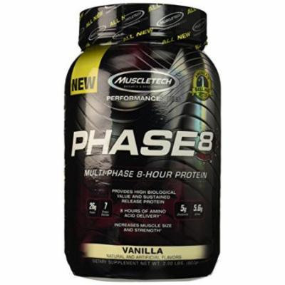 MuscleTech Phase 8 Protein Powder, Multi-Phase 8-Hour Protein Formula, Vanilla, 2.0 lbs (907g)
