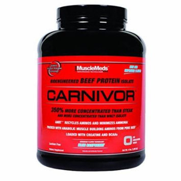 MuscleMeds Carnivor Beef Protein Isolate Powder, Blue Raspberry, 4 Pound