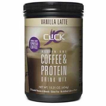 CLICK Espresso Protein Drink, Vanilla Latte (14-Servings), 15.31-Ounce Container