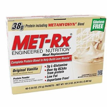MET-Rx Original Meal Replacement Original Vanilla, 40 count (2.54 ounce packets)