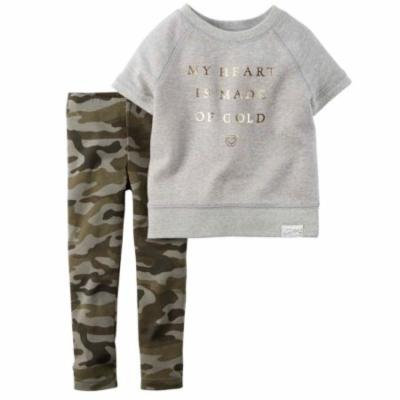 Carters Infant Girls Heart of Gold 2 Piece Outfit Shirt & Camo Leggings