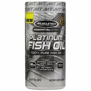 MuscleTech Platinum 100% Fish Oil, Ultra-Pure 100% Fish Oil, 100 SoftGel Caps