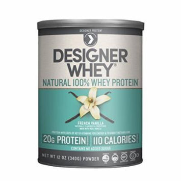 Designer Protein 100% Premium Natural Whey Protein Powder with Acti-Blend, French Vanilla, 12 Ounce Canister
