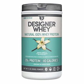 Designer Protein 100% Premium Natural Whey Protein Powder with Acti-Blend, French Vanilla, 2 Pound Canister