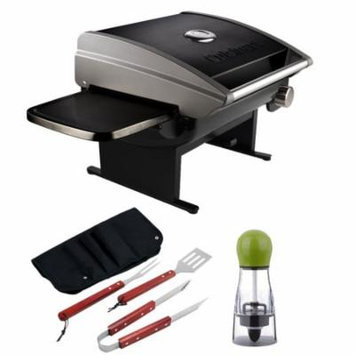 Cuisinart Portable Outdoor Tabletop Propane Gas Grill, 12000 BTU, Black (CGG-200B) with BBQ Bundle, Includes, Carteret BBQ Apron Tool Set & Carteret Twist And Spice Manual Spice Mill