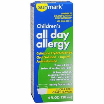 Sunmark Children's All Day Allergy, Cetirizine, Oral Solution, Sugar Free, Grape Flavor - 4 oz