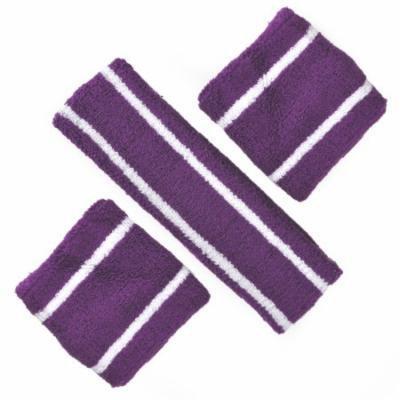 GOGO Two Color Stripe Sweatband Set (1 Headband + 2 Wristbands)-Purple/White
