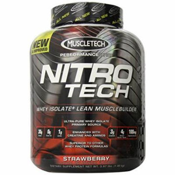 MuscleTech NitroTech Protein Powder, Whey Isolate + Lean MuscleBuilder, Strawberry, 3.97 lbs (1.80kg)