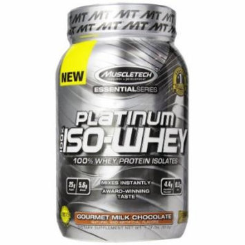 MuscleTech Platinum 100% ISO Whey, 100% Whey Protein Isolates Powder, Gourmet Milk Chocolate, 1.79 lbs (812g)