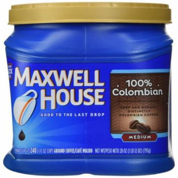 Maxwell House 100% Colombian, Medium Roast Coffe Grounds, 28 OZ (Pack of 6)