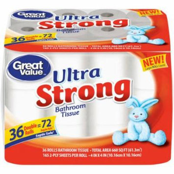 Great Value Ultra Strong Bathroom Tissue, 165 sheets, 36 rolls