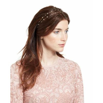 Jennifer Behr Lucia Two-Row Head Wrap, Crystal/Gold