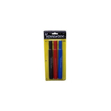 A+HOMEWORK Permanent Markers - 3 Pack - Large 6 in. - Case of 48