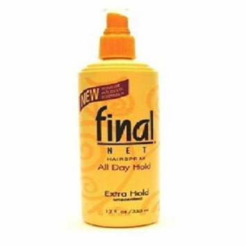 Final Net Unscented All Day Hold Hairspray, Extra Hold 12 fl oz (355 ml) (Pack of 6)