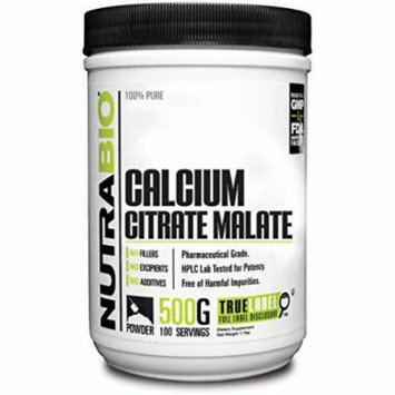 NutraBio Calcium Citrate Malate Powder - 500 Grams Pharmaceutical Grade & HPLC Lab Tested for Potency
