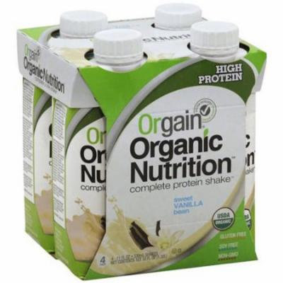 Orgain Organic Nutrition Sweet Vanilla Bean Complete Protein Shake, 11 fl oz, 4 Pack, (Pack of 12)