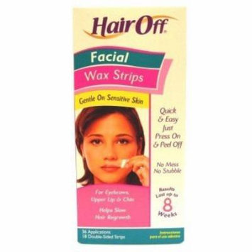 Hair Off Facial Wax Strips 18 Sets (3-Pack) with Free Nail File