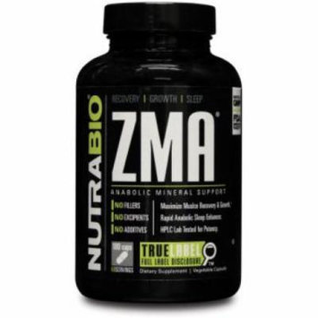 NutraBio ZMA Nighttime Muscle Recovery Supplement - 180 Vegetable Caps - Recovery, Growth & Sleep Anabolic Mineral