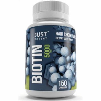 Just Potent Biotin Supplement For Hair, Skin, and Nails :: 5000 MCG :: 150 Capsules :: 5 Month Supply