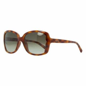 Valentino V 608S 725 Blonde Havana Rectangular Scalopped Sunglasses