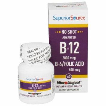 Superior Source - No Shot Advanced B12 2000mcg. B6/Folic Acid 600mcg. Instant Dissolve - 60 Tablets