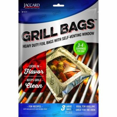 Jaccard Qbag 3-Pack Heavy Duty Foil Grill Oven Large Bags w/ Self-Venting Window