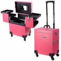 14X9X17inch PVC Rolling Makeup Cosmetic Train Case Lockable Wheeled Box Artist