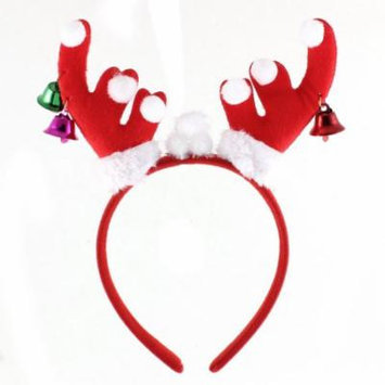 Woman Lady Antler Bell Decor Christmas Party Head Wrap Headband Hairband Red