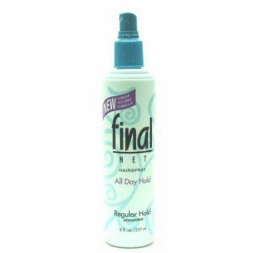 Final Net Hairspray, Regular Hold, Unscented, 8 Ounces (Pack of 6)