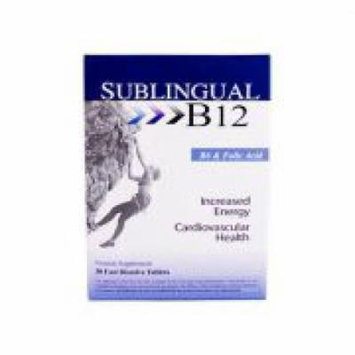 Sublingual B12, B6 ,+ Folic Acid Fast Dissolve Tabs 30 Tablets (2 Pack)