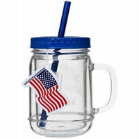ALL AMERICAN 20OZ MASON JAR MUG WITH RE-USEABLE STRAWS - BLUE