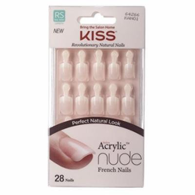 Kiss Salon Acrylic Nude French Nails - Breathtaking 28-Count (Pack of 4)