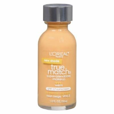 L'Oreal True Match Super Blendable Make Up, Fresh Beige W4.5 - 1 Oz, Pack of 2