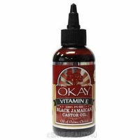 Okay 100% Castor Oil - Black Vitamin E 4 oz. (Pack of 6)